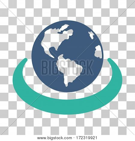 International Network vector pictograph. Illustration style is flat iconic bicolor cobalt and cyan symbol on a transparent background.