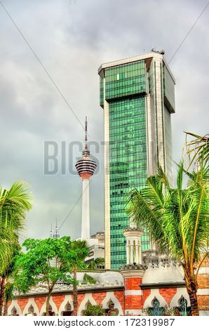 Modern architecture with the TV tower in Kuala Lumpur - Malaysia