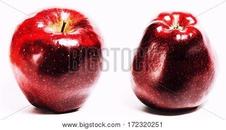collage with one red delishious apple isolated on white