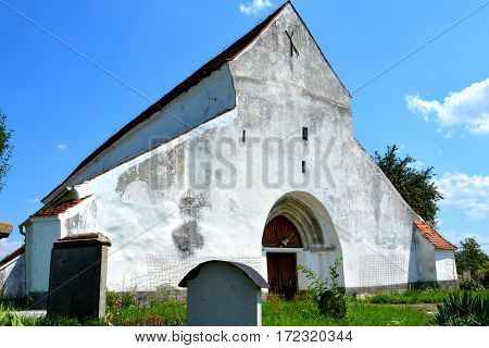 Tower of old saxon evangelic church in Halmeag (Transylvania). In Transylvania there are many saxon churches. This church is 800 years old.