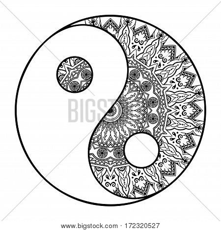 Circular pattern in the form of a mandala. Yin-yang decorative symbol. Ancient sign of a hormone. Mehndi style. Decorative pattern in oriental style. Henna tattoo pattern in Indian style.