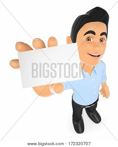 3d working people illustration. Information technology technician showing a blank card. Isolated white background.