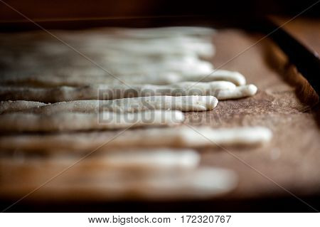 Breadsticks On Baking Tray In Oven