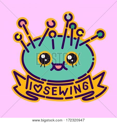 Needles pillow badge, cute kawaii flat design style sign, dressmaker icon, I love sewing lettering, vector cartoon character