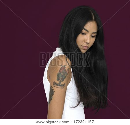 Asian Woman Tattoo Side view