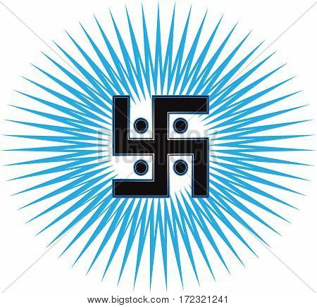 The most important symbol in the religion of Jainism -  the Sun Swastika, blue sun rays, vector