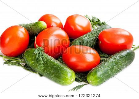 Red tomatoes and green cucumbers for salad. Isolated on white background. Healthy diet vegetarian food.