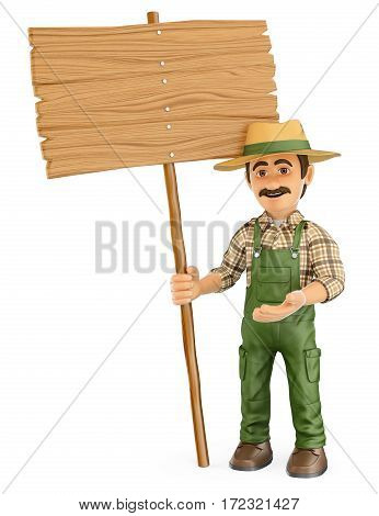 3d working people illustration. Gardener with a blank wooden sign. Isolated white background.