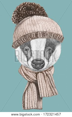 Portrait of Badger with hat and scarf. Hand-drawn illustration.