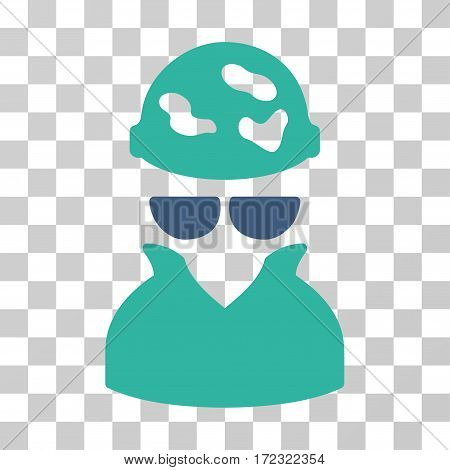 Spotted Spy vector pictogram. Illustration style is flat iconic bicolor cobalt and cyan symbol on a transparent background.