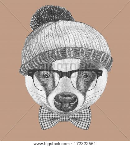Portrait of Badger with glasses, hat and bow tie. Hand-drawn illustration.