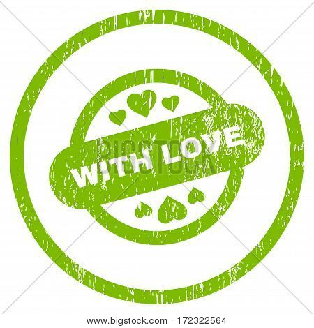 With Love Stamp Seal grainy textured icon for overlay watermark stamps. Rounded flat vector symbol with dirty texture.