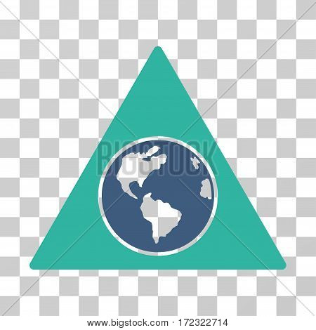 Terra Triangle vector pictograph. Illustration style is flat iconic bicolor cobalt and cyan symbol on a transparent background.