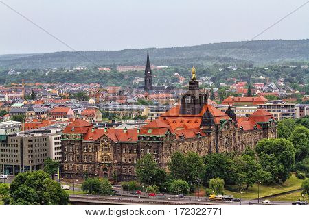 DRESDEN, GERMANY - JUNE 7: Ancient city of Dresden - historical and cultural center of Europe in rainy weather at June 7 2012