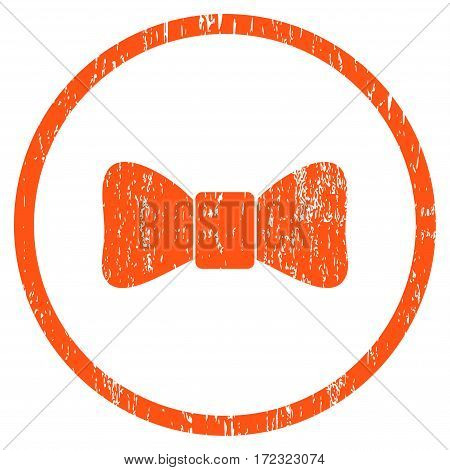 Bow Tie grainy textured icon for overlay watermark stamps. Rounded flat vector symbol with unclean texture. Circled orange ink rubber seal stamp with grunge design on a white background.