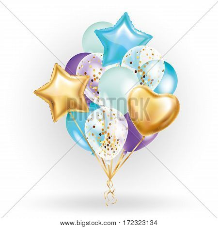 Heart star Gold balloon Bouquet. Frosted party balloons event design.