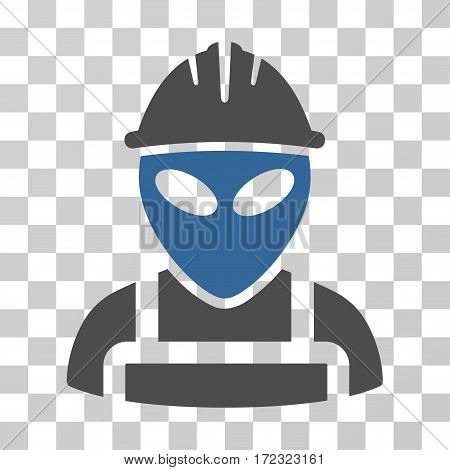 Alien Worker vector pictograph. Illustration style is flat iconic bicolor cobalt and gray symbol on a transparent background.