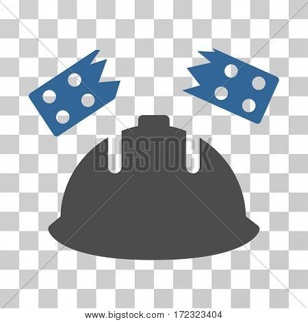 Brick Helmet Accident vector pictograph. Illustration style is flat iconic bicolor cobalt and gray symbol on a transparent background.