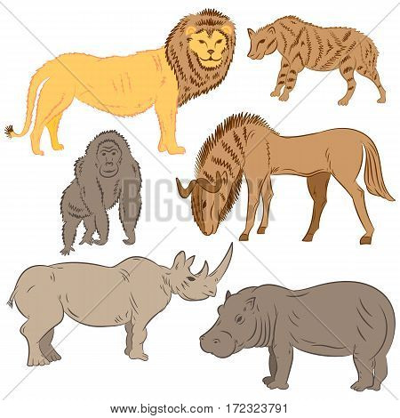 Hand Drawn African Wilde Animals. Doodle Drawings of Lion Stripped Hyena Gorilla Wildebeest Hippo and Rhinoceros. Flat Style. Vector Illustration.