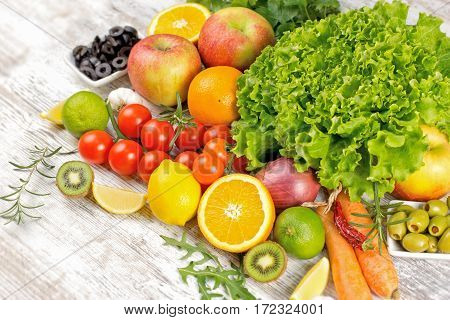 Fresh fruits and vegetables - healthy diet based on fresh and organic fruits and vegetables