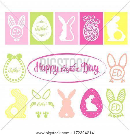 Easter vector design elements.Easter Bunny Chick. Easter.