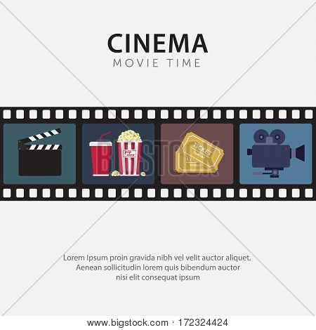 Flat Movie Time Poster with Clapperboard, Popcorn, Ticket, and Camcorder