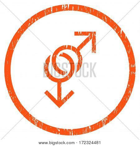Gay Love Symbol grainy textured icon for overlay watermark stamps. Rounded flat vector symbol with scratched texture. Circled orange ink rubber seal stamp with grunge design on a white background.