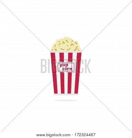Popcorn in white and red cardboard box