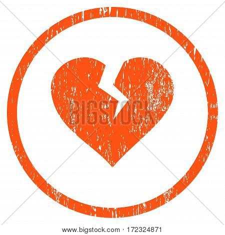 Heart Break grainy textured icon for overlay watermark stamps. Rounded flat vector symbol with unclean texture. Circled orange ink rubber seal stamp with grunge design on a white background.