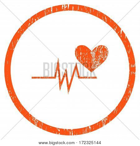 Heart Pulse Signal grainy textured icon for overlay watermark stamps. Rounded flat vector symbol with dirty texture. Circled orange ink rubber seal stamp with grunge design on a white background.