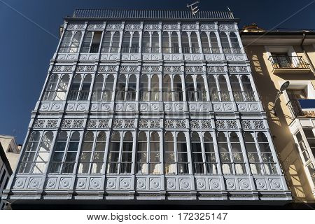 Valladolid (Castilla y Leon Spain): historic buildings with the typical verandas near Plaza Mayor the main square of the city