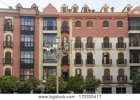 Jaen (Andalucia Spain): building with typical balconies and verandas