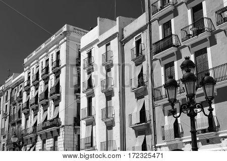 Tarragona (Catalunya Spain): historic building in Plaza del Ayuntamiento. Black and white