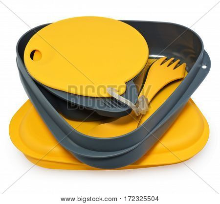Lunch box plastic containers plates and cutlery. Tourist set in yellow and gray on a white background with slight shadow.