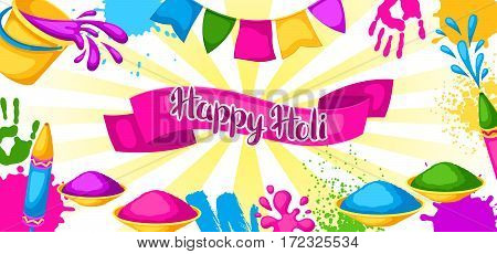 Happy Holi colorful banner. Illustration of buckets with paint, water guns, flags, blots and stains.