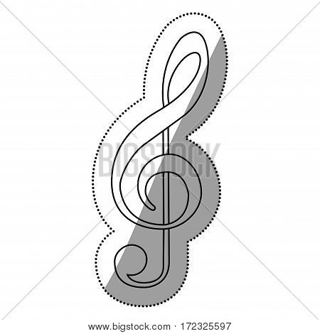 monochrome contour silhouette with sign music treble clef vector illustration