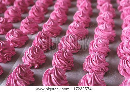 Raws of homemade strawberry marshmallow dessert. Fabrication