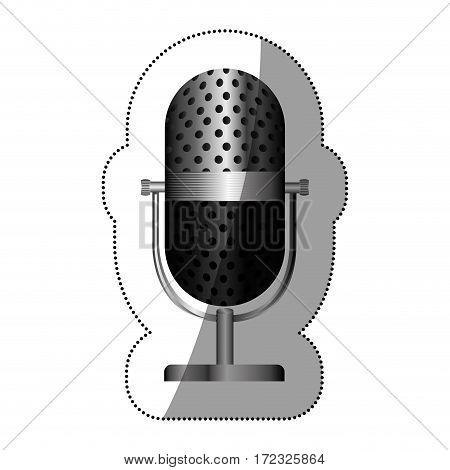 monochrome silhouette with studio microphone vector illustration vector illustration