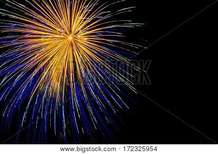 A blue firework shot off in the night sky