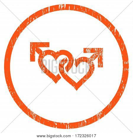 Linked Gay Hearts grainy textured icon for overlay watermark stamps. Rounded flat vector symbol with unclean texture. Circled orange ink rubber seal stamp with grunge design on a white background.