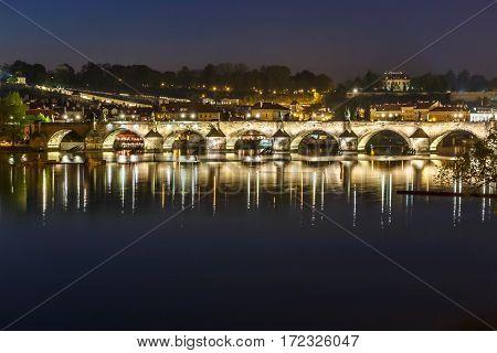 Prague, Charles Bridge In Evening