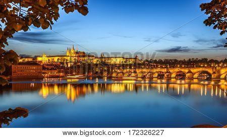 Prague, Charles Bridge In Evening Lights