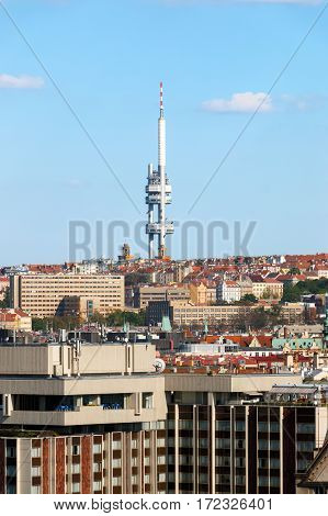 View Of Prague With Buildings And Zizkov Television Tower
