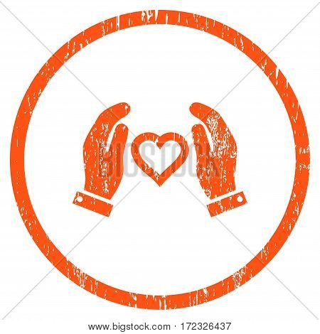 Love Care Hands grainy textured icon for overlay watermark stamps. Rounded flat vector symbol with scratched texture. Circled orange ink rubber seal stamp with grunge design on a white background.
