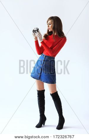 Full Lenght Portrait Of Young Beautiful Woman Whith Photo Camera In Retro Style