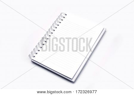 Open blank paper leather notebook on white background