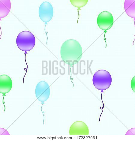 Multicolored balloons seamless background. Repeating pattern with colorful balloons floating in the air. Vector. Made using clipping mask