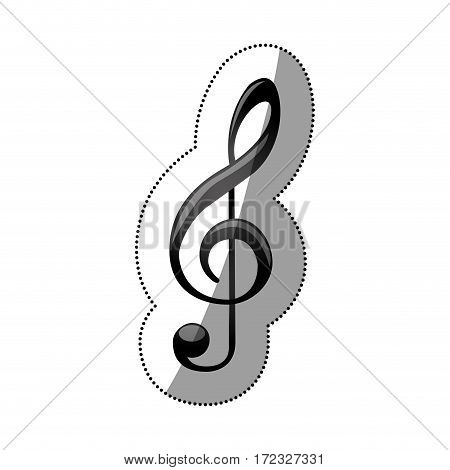 sticker monochrome silhouette with sign music treble clef vector illustration