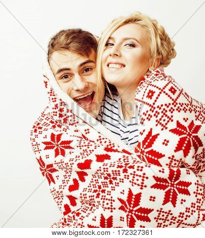 young pretty teenage couple, hipster guy with his girlfriend happy smiling and hugging isolated on white background, lifestyle people concept, valentine design winter plaid together close up