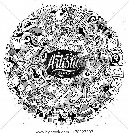 Cartoon cute doodles hand drawn Artistic illustration. Line art detailed, with lots of artist tools objects background. Funny vector artwork